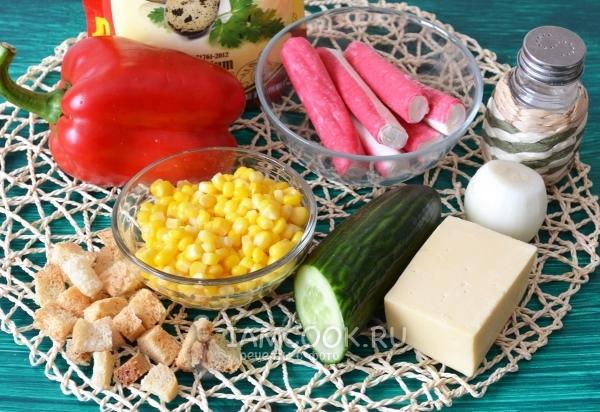 Ингредиенты для салата c крабовыми палочками и болгарским перцем