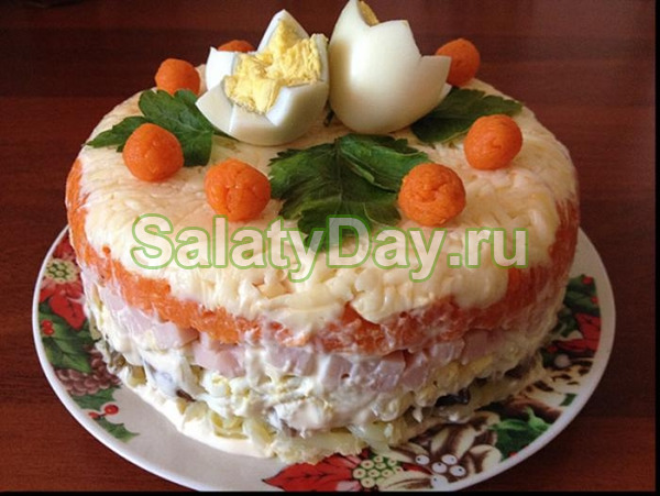 Салат  «Морской» с апельсином