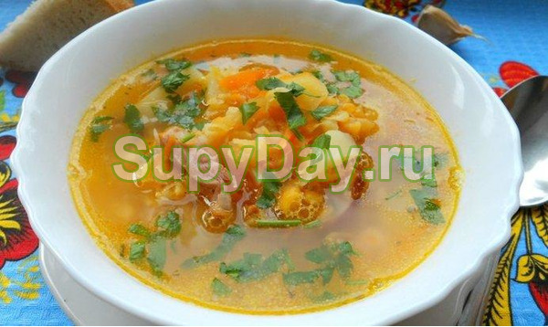 Суп с копченой курицей и вермишелью