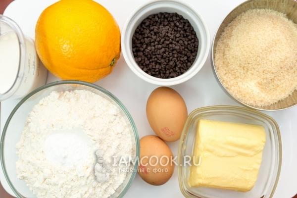 Ингредиенты для апельсиново-шоколадного кекса