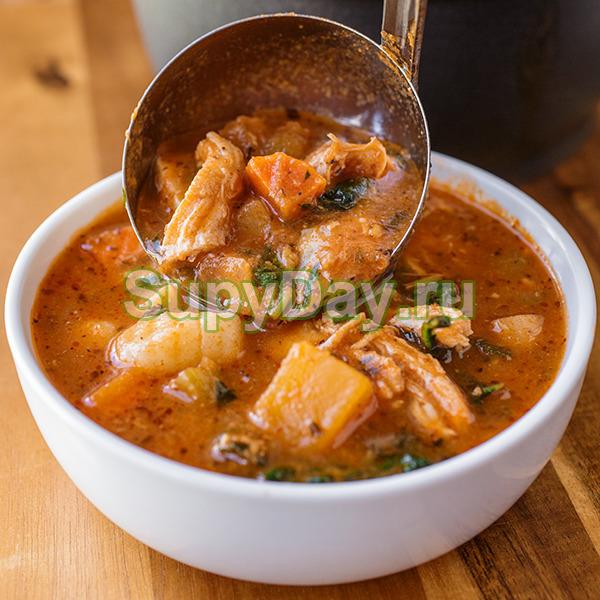 Итальянский томатный суп с курицей и лапшой