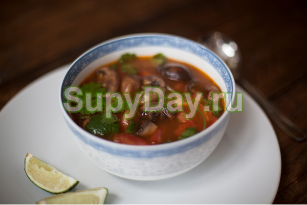 Томатный суп с грибами и курицей