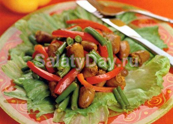 Легкий салат из куриных сердечек