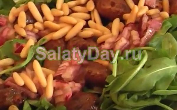 Салат из куриных сердечек с кедровыми орешками