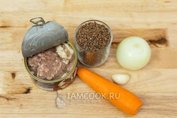 Ингредиенты для гречневой каши с тушенкой по-армейски (солдатская)