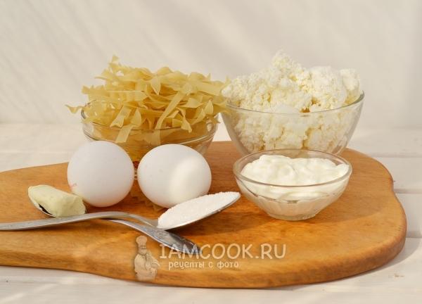 Ингредиенты для лапшевника с творогом