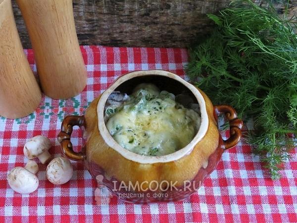 Рецепт пельменей с грибами в горшочках в духовке