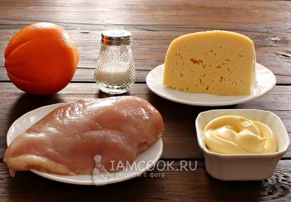 Ингредиенты для салата с апельсином, курицей и сыром