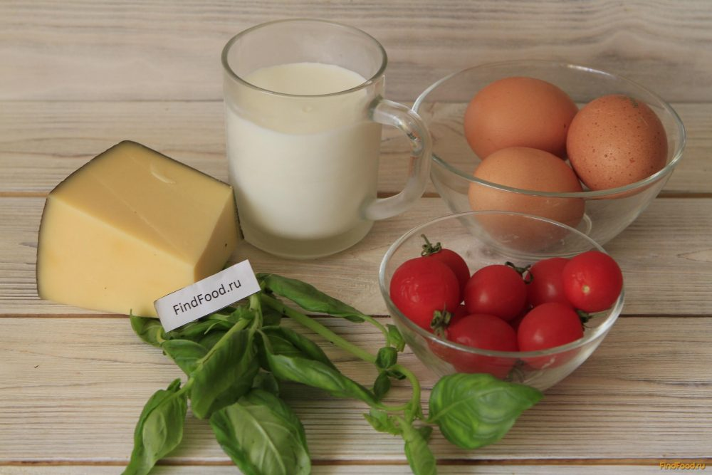 Омлет с помидорами и базиликом рецепт с фото 1-го шага