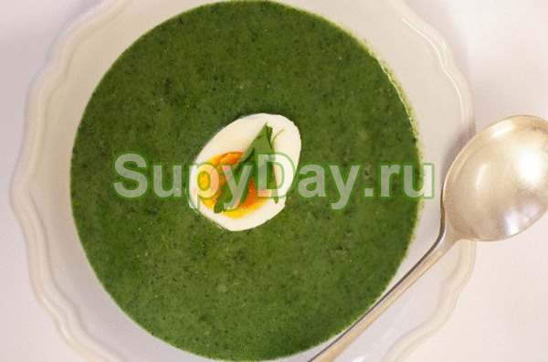Суп-пюре из щавеля с рисом и яйцом