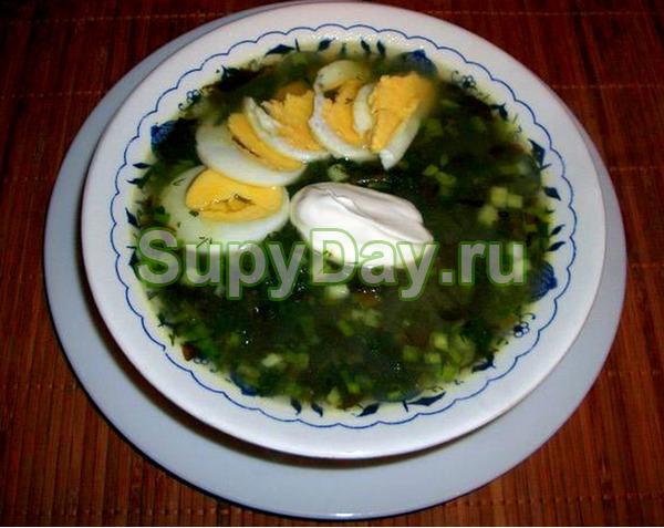 Суп из щавеля с крапивой и яйцом
