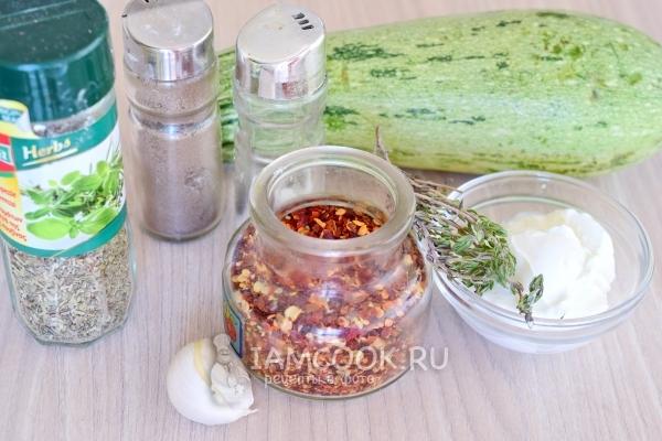 Ингредиенты для кабачков в сметане в духовке