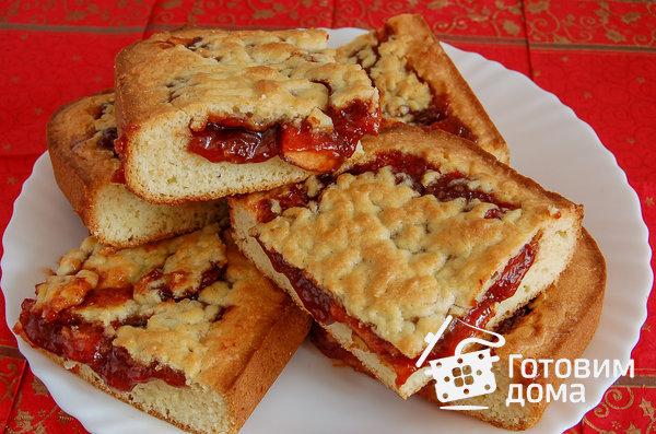 Домашний песочный пирог с вареньем фото к рецепту 5