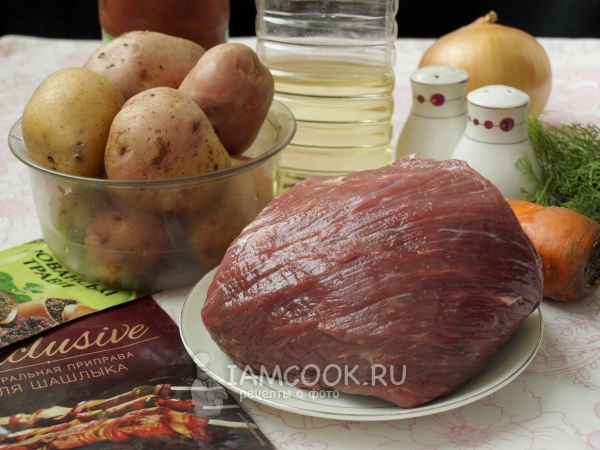 Ингредиенты для тушеной телятины с картошкой