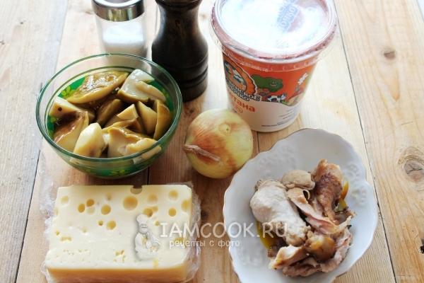 Ингредиенты для жульена из белых грибов
