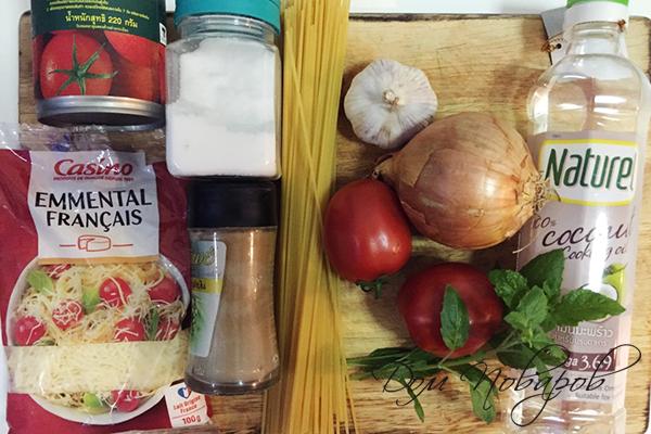 Ингредиенты для пасты с томатами и сыром