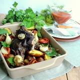 Баранина в мятном маринаде запечённая с овощами