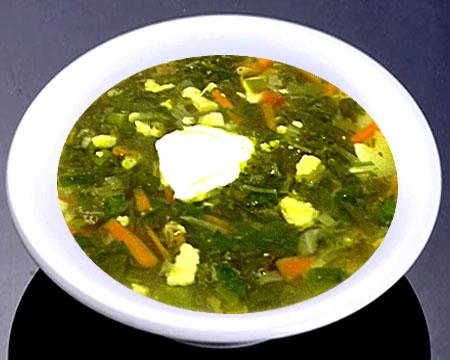 Зеленый борщ с тушенкой в тарелке