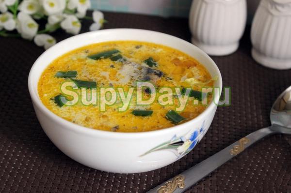 Суп с консервированной сайрой и сметаной