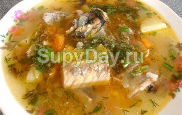 Гречневый суп с сайрой консервированной