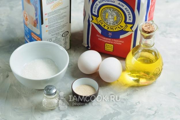 Ингредиенты для блинов с дырочками на молоке с дрожжами