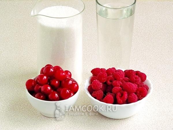 Ингредиенты для варенья из вишни с малиной