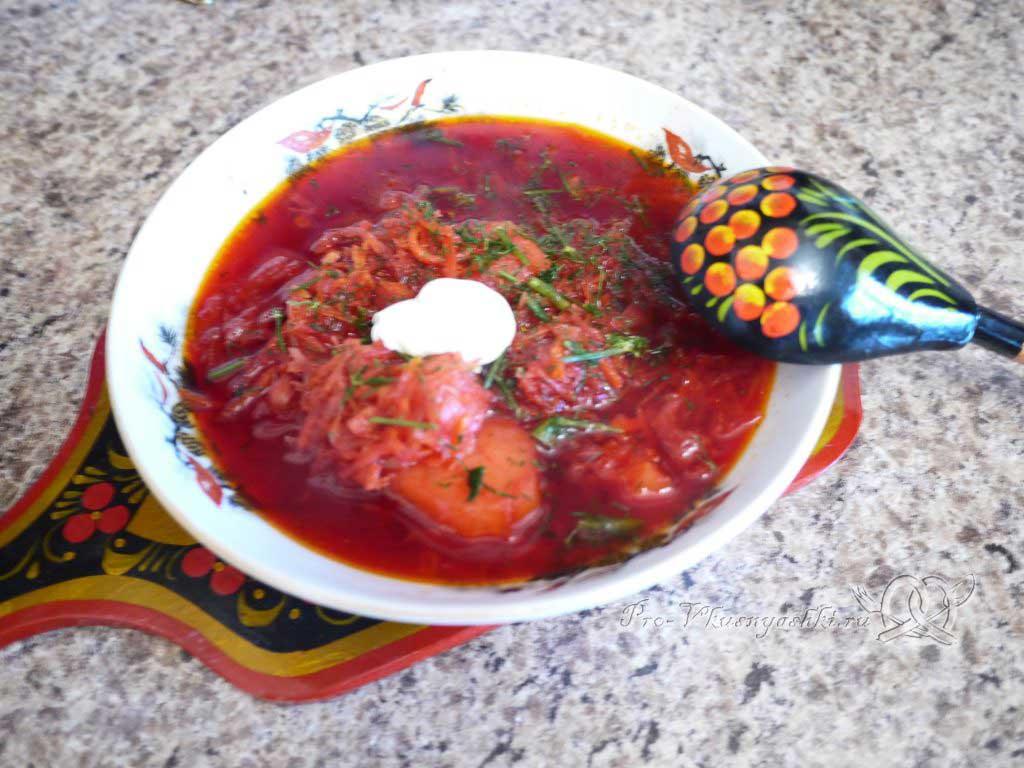 Вегетарианский борщ со свеклой - готовое блюдо